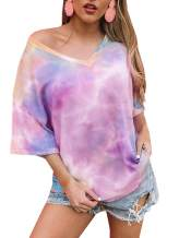CCBSTS Womens Summer V Neck Tie Dye T Shirts Plus Size Short Sleeve Loose Knit Tops Casual Flowy Tunic Tees