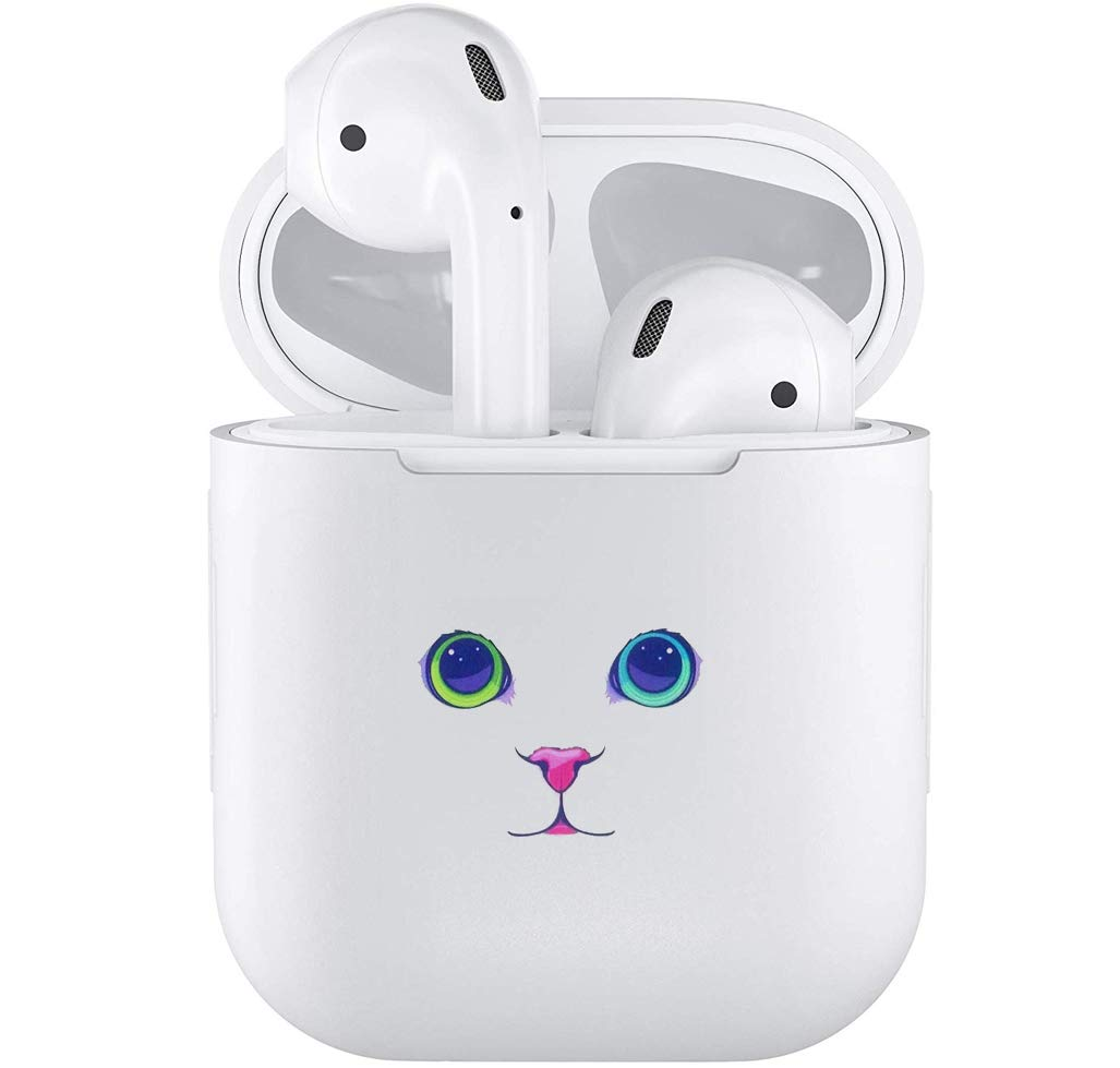 Silicone TPU Cute Accessories Holder Case Cover Skin with Keychain Compatible with Airpods Air Pods 1 2 Cat