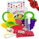 Teething Toys Set for Baby - 3 BPA-Free Silicone Soft Fruit Teethers + Pacifier/Teether Clip Holder + Finger Toothbrush, Best Sore Gums Relief for Infant and Toddler, Freezer Safe, WIMMZI