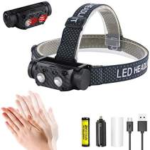 Super Bright LED Mini Headlight USB Rechargeable Adjustable Headlamp Motion Sensor Waterproof LED Head Light with 18650 Battery Head Torch for Hunting, Camping, Hiking, Running.