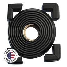 Cardinal Gates Edge & Corner Safety Cushion, 12 ft Roll + 4 Corners (Black)