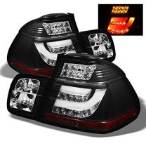 For BMW E46 3-Series 325 330 4Dr Sedan Black Bezel Light Tube LED Tail Lights Driver/Passenger Lamps