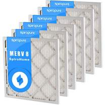 SpiroPure 11.5X11.5X1 MERV 8 Pleated Air Filters - Made in USA (6 Pack)