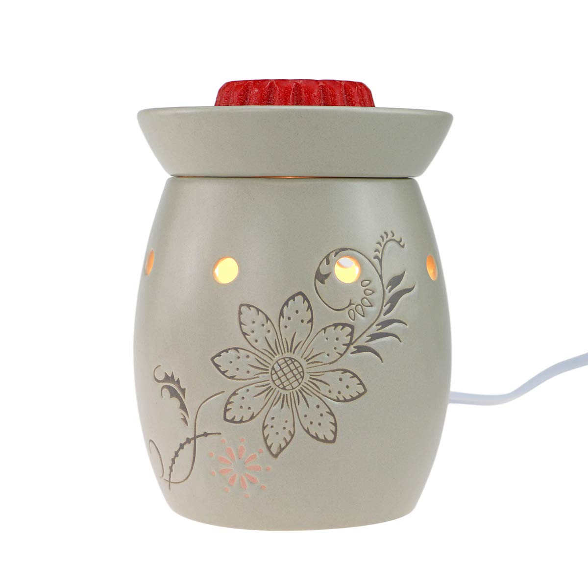 StarMoon Electric 2-in-1 Candle Warmer for Wax Melt, Home Fragrance Diffuser, Fragrance Air Fresheners, Home Décor, No Flame, Removable Dish, with One More Bulb (Peach Blossom)