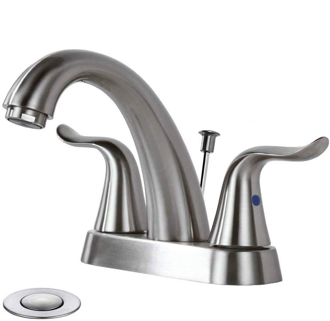 WOWOW Bathroom Faucet 2 Handle 4 Inch Centerset Bathroom Sink Faucet, Lead-free Basin Mixer Tap with Lift Rod Drain Stopper, 2 Handle Centerset Lavatory Faucet Brushed Nickel Vanity Faucet