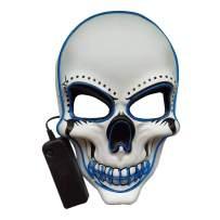 jiguoor Halloween Purge Skeleton Skull Mask Glowing Scary Mask Festival Party
