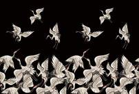 Baocicco 6x5ft Japanese Ukiyoe Ukiyoye Flying Groupes Red-Crowned Crane Backdrop Black Photography Background Japan Theme Traditional Oriental Pattern Room Wallpaper Party Polyester Photo Props