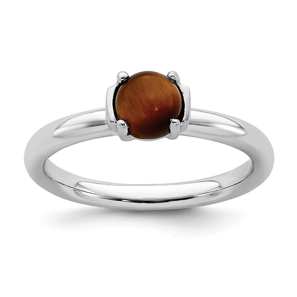 925 Sterling Silver Tigers Eye Band Ring Stackable Gemstone Natural Stone Tiger Fine Mothers Day Jewelry For Women Gifts For Her