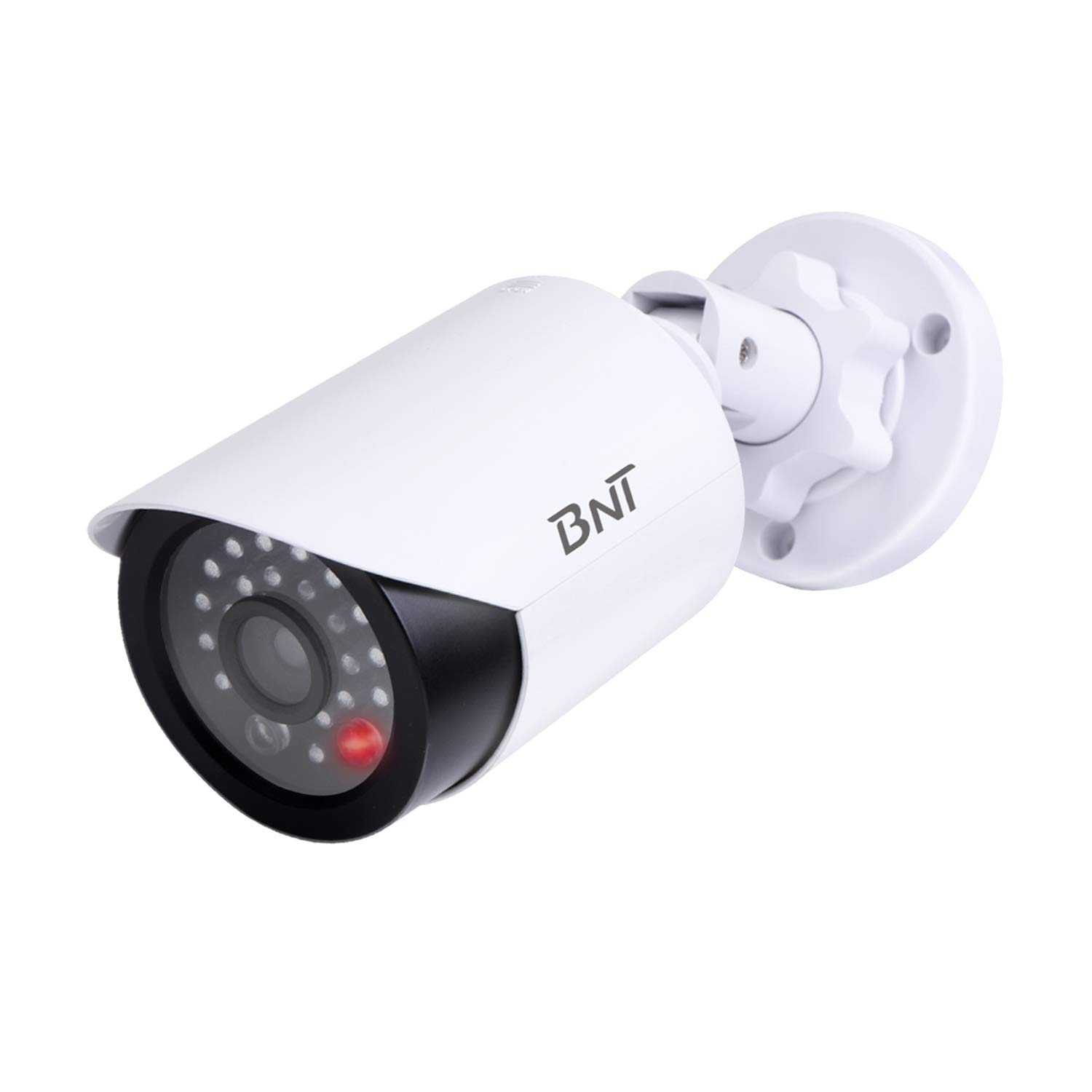 BNT Dummy Fake Security Camera, with One Red LED Light, for Home and Businesses Security Indoor/Outdoor (1 Pack, White)
