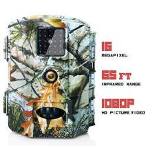 """Olymbros Trail Game Camera 16MP 1080P HD IP65 with Night Vision Motion Activated 110° 20m Detection Range Hunting Scouting Cam Trigger Time 0.6s Wildlife Monitoring with 2.4"""" LCD IR LEDs for Outdoor"""