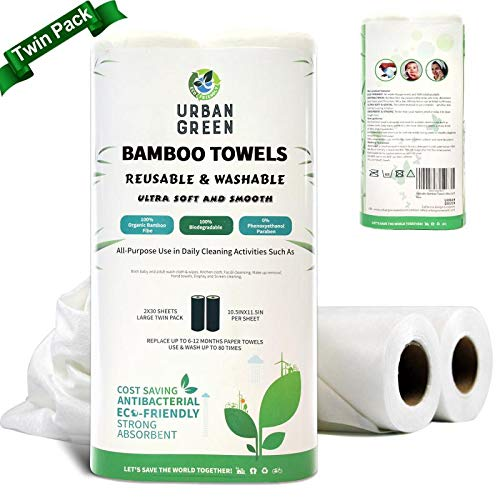 Reusable Bamboo Towels by Urban Green,Large size 2 rolls 60 sheets, Ultra Soft Un paper Towels, Strong Smooth Washable, Kitchen towels, Baby Wipes, Burb Cloths, Makeup Remove, Face Wash, Twin Pack,