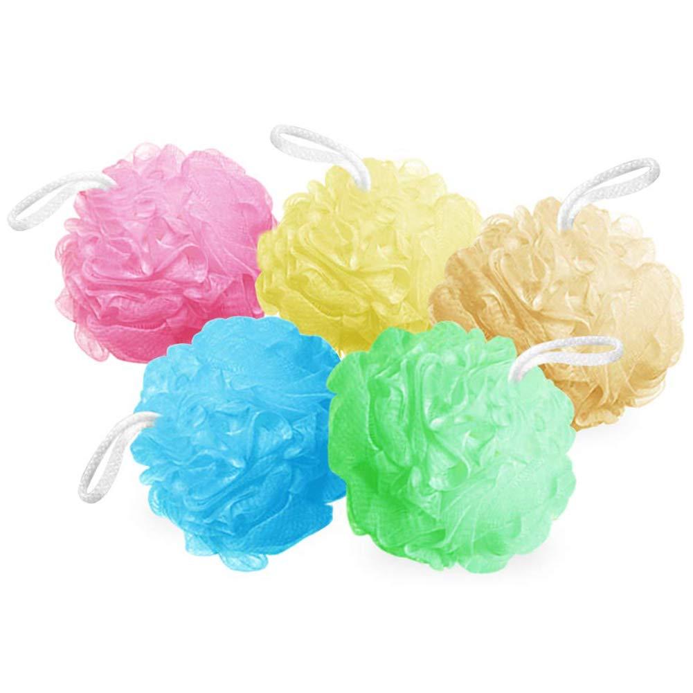 Bath Sponges Bath Loofahs Mesh Pouf Shower Wash Ball Large 5 Packs 60g Each Soft Eco-Friendly for Men& Women Cleanse, Smooths Skin, Exfoliating