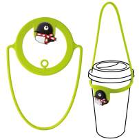 Bone Collection Travel Cup Drink Carrier, Reusable Coffee Beverage Holder with Handle Hanger, Cup Tie Series - Maru Penguin (Green)