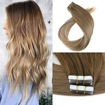 Moresoo 22 Inch Seamless Tape in Human Hair Extensions Tape on Hair Real Human Hair Skin Weft Balayage Color #8 Brown Fading to #16 Blonde 40PCS 100G Hair Extensions Tape in
