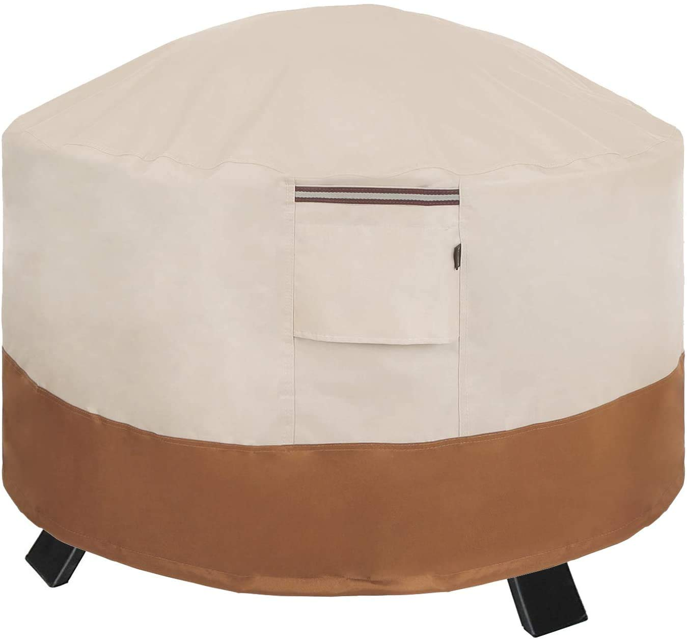 SONGMICS Round Fire Pit Cover 36 x 24 Inches (Dia. x H), 600D Patio Fire Pit Table Cover for Outdoor Garden, Waterproof and Anti-Fade, 36 x 24 Inches (Dia. x H) UGPC91EC