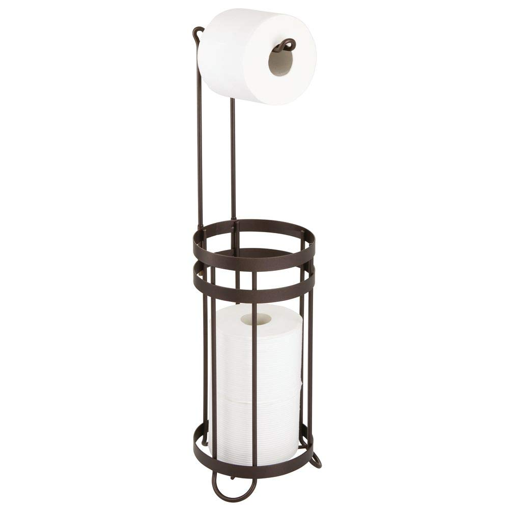 mDesign Metal Decorative Freestanding Toilet Paper Roll Holder Stand and Dispenser with Storage for 3 Extra Rolls of Reserve Toilet Tissue - for Bathroom Storage Organizing - Holds Mega Rolls - Bronze