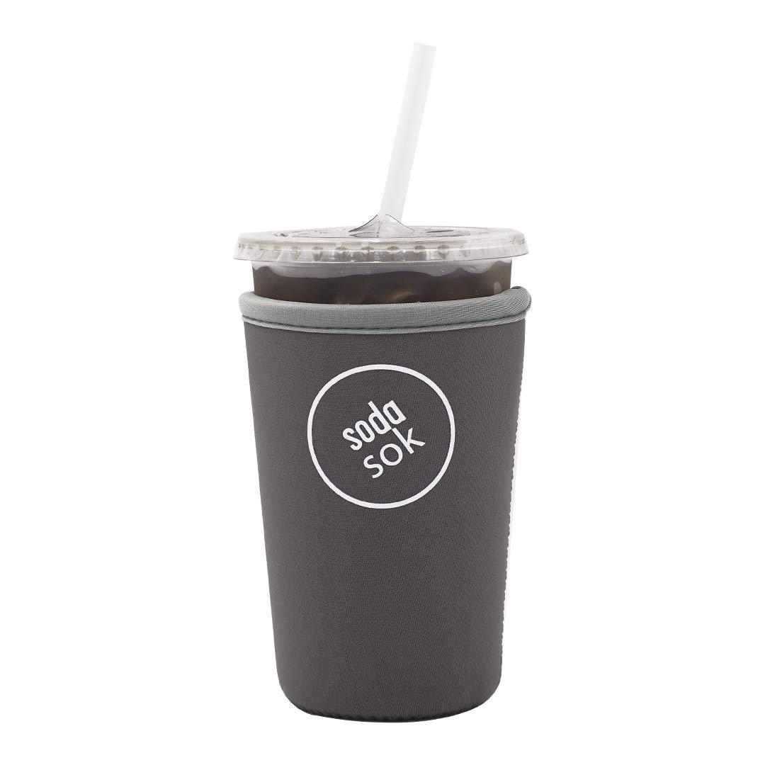 Soda Sok Reusable Insulated Neoprene Drink Sleeve for Iced Fountain Drinks and Soda Cups (Dark Grey, 22-24oz Med)