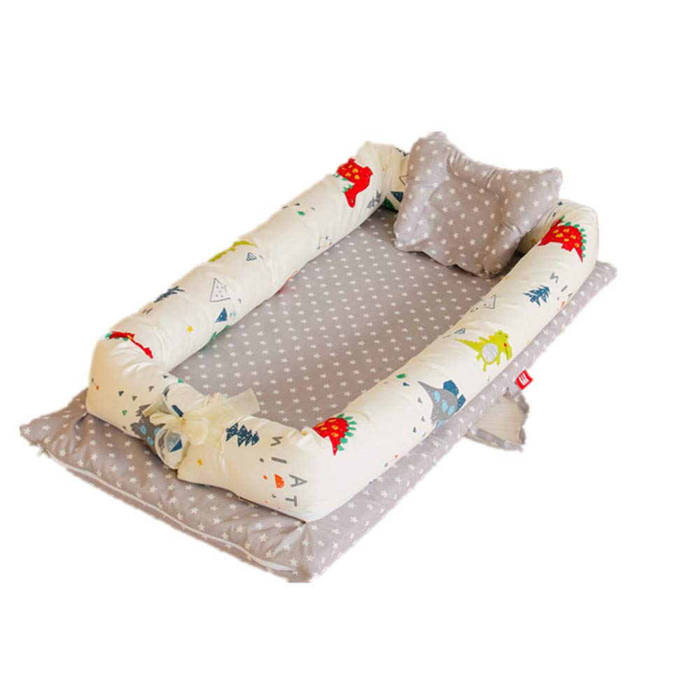 Abreeze Baby Bassinet for Bed -Little Dinosaur Printed Baby Lounger - Breathable & Hypoallergenic Co-Sleeping Baby Bed - 100% Cotton Portable Crib for Bedroom/Travel