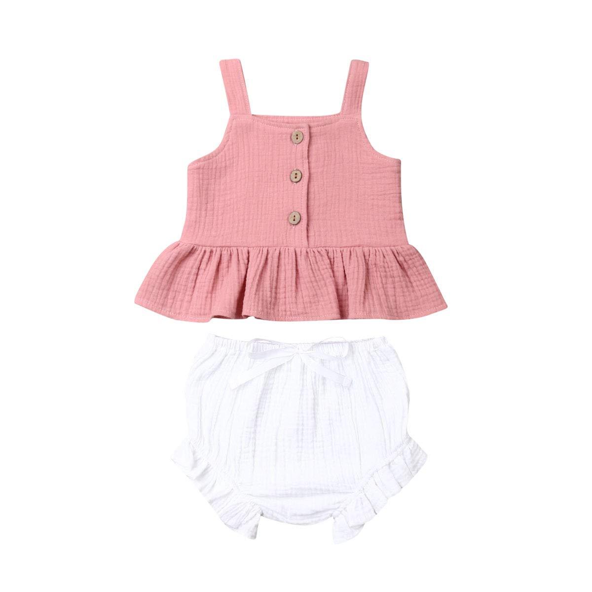 Toddler Kids Baby Girl Cotton Ruffle Halter Tank Top+ Bowknot Shorts Outfits 2PCS Set