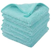 Sinland Microfiber Face Cloths For Bath Reusable Makeup Remover Cloth Ultra Soft and Absorbent Washcloths For Baby 13Inch x 13Inch Light Blue 6 Pack