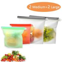 Silicone Bags Reusable Silicone Food Bag Storage Freezer Thick Silicone Dishwasher Sandwich Bags Snake Containers Cooking Bag Sets for Fruits Vegetables Liquid 4 Pack