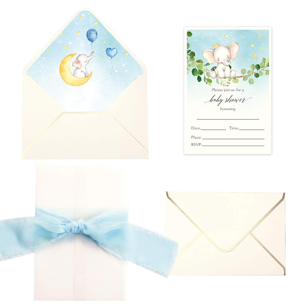 Doris Home 250 Gsm 5 X7 3 Inch Invitations Cards With Envelopes And Printed Inner Sheets Baby Shower Cream Animals Cream Elephant