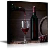 wall26 - Square Canvas Wall Art - Filling Wine in The Glass - Giclee Print Gallery Wrap Modern Home Decor Ready to Hang - 12x12 inches