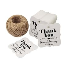 Baby Shower Favors Tags,Wedding Party Favor Tags,Thank You for Celebrating with Us Paper Gift Tags,100 Pcs White Thank You Tags with 100 Feet Natural Jute Twine
