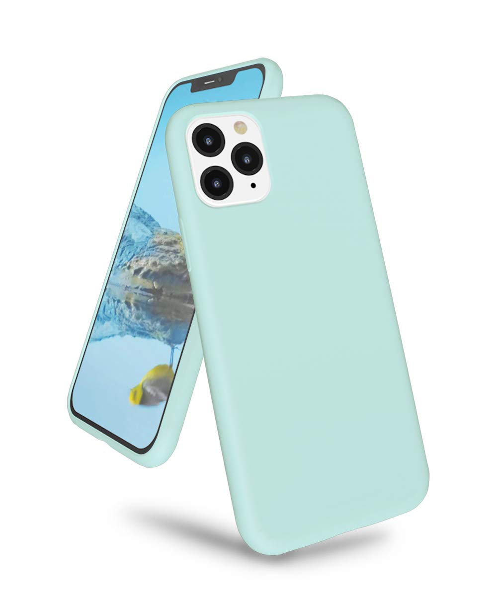 """K TOMOTO Phone Case for iPhone 11 Pro Max, Ultra Slim Full Body Liquid Silicone Gel Rubber Shockproof Protective Case with Soft Microfiber Cloth Lining Cover for iPhone 11Pro Max 6.5"""", Turquoise"""