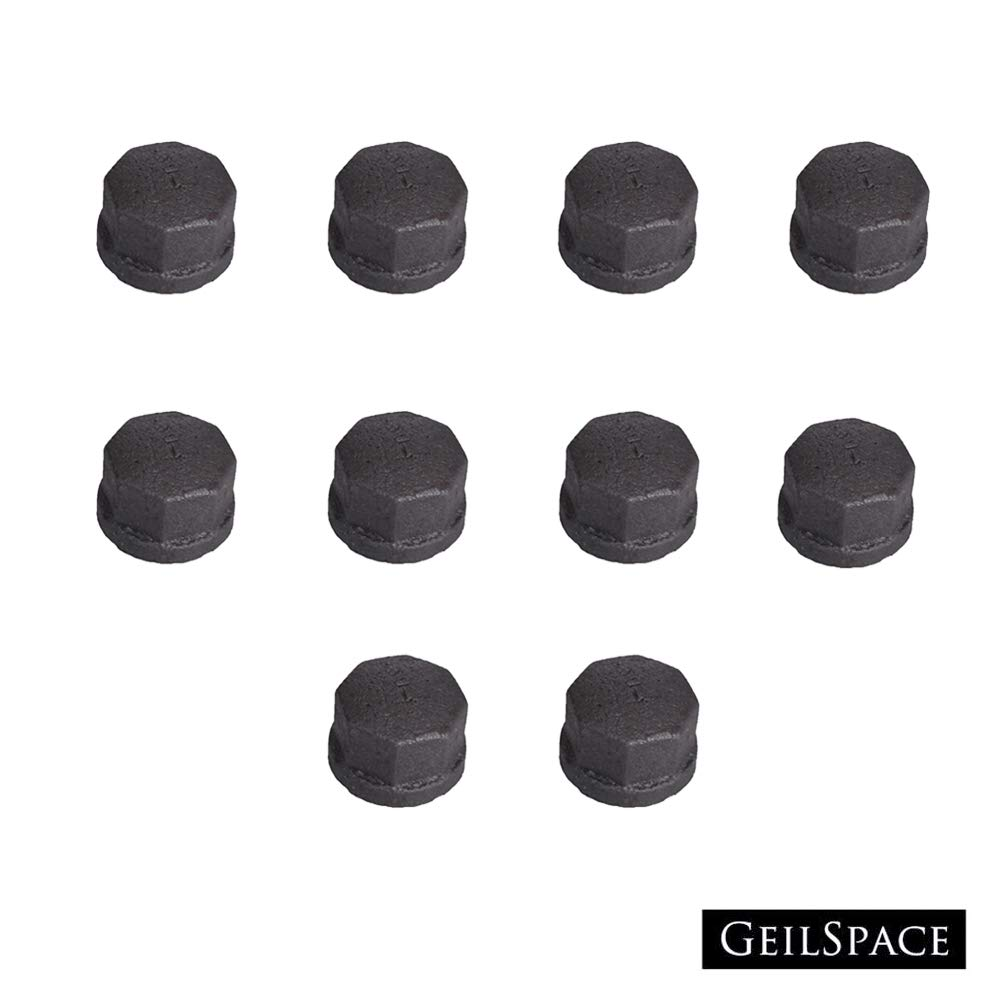 "GeilSpace Cap, Malleable Iron Pipe Fittings - Vintage DIY Industrial Shelving, Industrial Decor, Furniture DIY (1/2"", Grey)"
