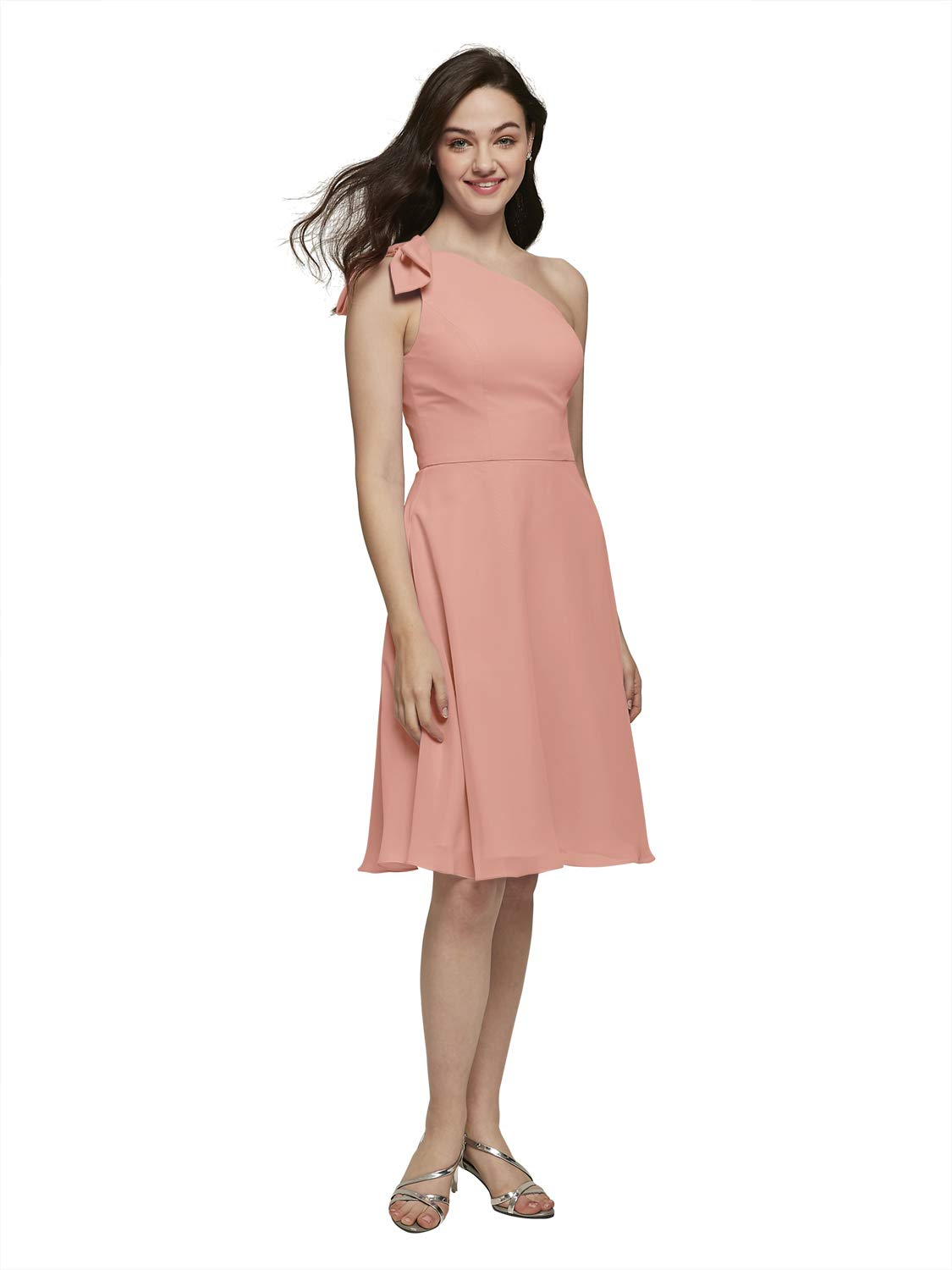 Alicepub Bow Detailed One Shoulder Chiffon Bridesmaid Dress Short Formal Party Special Ocassion Gown