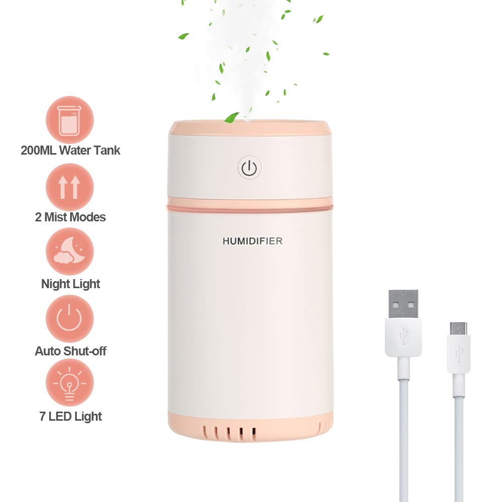 bigzzia USB Portable Humidifiers Diffuser Mini Personal Cool Air Quiet Ultrasonic Purifier 7-Color Mood Lights Nightlight 200ML Auto Shut-Off for Car Office Home (Yellow)