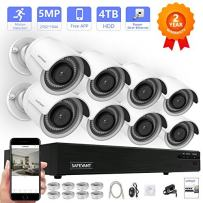 Security Camera System,Safevant H.265 8CH 5MP NVR Surveillance Camera System, 8PCS 5MP(2592x1944P) Indoors/Outdoors Security Cameras,100ft Night Vision,Pre-Installed 4TB HDD