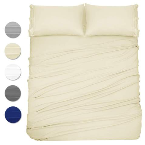 1800 Count 4 Piece Deep Pocket Cozy Bed Sheet Set by Clara Clark Cal King White