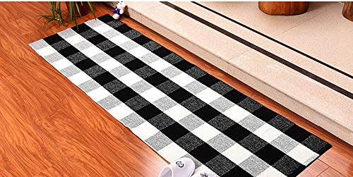 DOLOPL Kitchen Rug Buffalo Check Rug Black and Off White Plaid Rug 2'x6' Easy to Clean Durable Machine Washable for Kitchen Laundry Outdoor Indoor Dining Bathroom