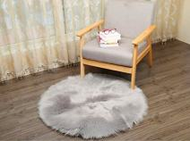 HUAHOO Faux Fur Sheepskin Rug Light Gray Kids Carpet Soft Faux Sheepskin Chair Cover Home Décor Accent for a Kid's Room,Childrens Bedroom, Nursery, Living Room or Bath. 5' Round
