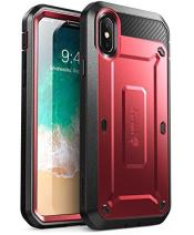 SUPCASE Unicorn Beetle Pro Series Case Designed for iPhone X, with Built-In Screen Protector Full-body Rugged Holster Case for Apple iPhone X / iPhone 10 (2017 Release) (Metallic Red)