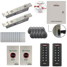Visionis FPC-7285 Two Door Access Control with Electric Drop Bolt Lock Fail Secure Time Attendance TCP/IP Wiegand Controller, Black Card Reader and Keypad, 10,000 Users Software Included