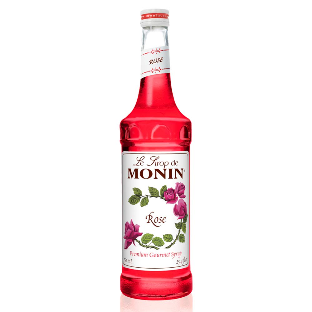 Monin - Rose Syrup, Elegant and Subtle, Great for Cocktails, Mocktails, and Soda, Gluten-Free, Vegan, Non-GMO (750 Milliliters)