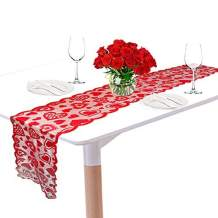 Kkonetoy Valentines Day Love Heart Table Runner - Red, 13 x 72Inch - Lace Table Runner for Wedding Party, Valentines Decorations - Home Heart Table Runner