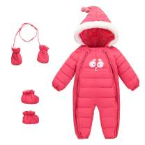 Baby 3 Piece All in One Hooded Puffer Winter Thick Down Snowsuit Jumpsuit Set