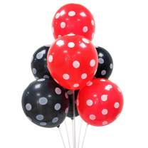 100 PCS 12 Inch Latex Balloons Red and Black Polka Dot Balloons Decorations for Birthday Party Wedding Baby Shower Supplies by ADIDO EVA