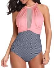 Tempt Me Women One Piece Swimsuit Plunge V-Neck Mesh Ruch Swimwear Pink Stripe M