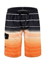 "Hopgo Men's Swim Trunks 22"" Quick Dry Beach Shorts Striped Boardshorts with Mesh Lining"