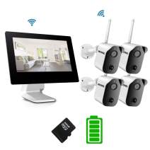 Bechol 1080P Wireless Security System Rechargeable Battery Cameras 4CH 9 inch Wi-Fi NVR All-in-One Touchscreen LCD Monitor and 4 Wire-Free, 2-Way Audio PIR Motion Detection Low Power Consumption