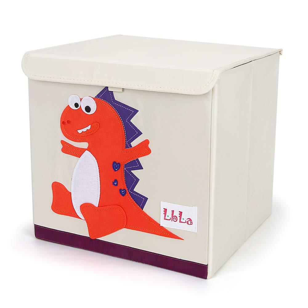LBLA Foldable Animal Storage Toy Box/Bin/Cube/Chest/Basket/Organizer for Kids & Toddlers, 13 inch (Dinosaur) (Orange)