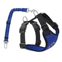 AUTOWT Dog Safety Vest Harness, Pet Car Harness Dog Safety Seatbelt Breathable Mesh Fabric Vest with Adjustable Strap for Travel and Daily Use in Vehicle for Dogs Puppy Cats (L, New Blue)