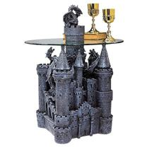 Design Toscano Lord Langton's Castle Gothic Glass-Topped Sculptural Side End Table, 30 Inch, Gray Stone Finish