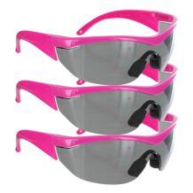 Safety Girl Navigator Safety Glasses (3 Pair-Pink Frame-Gray Lense)
