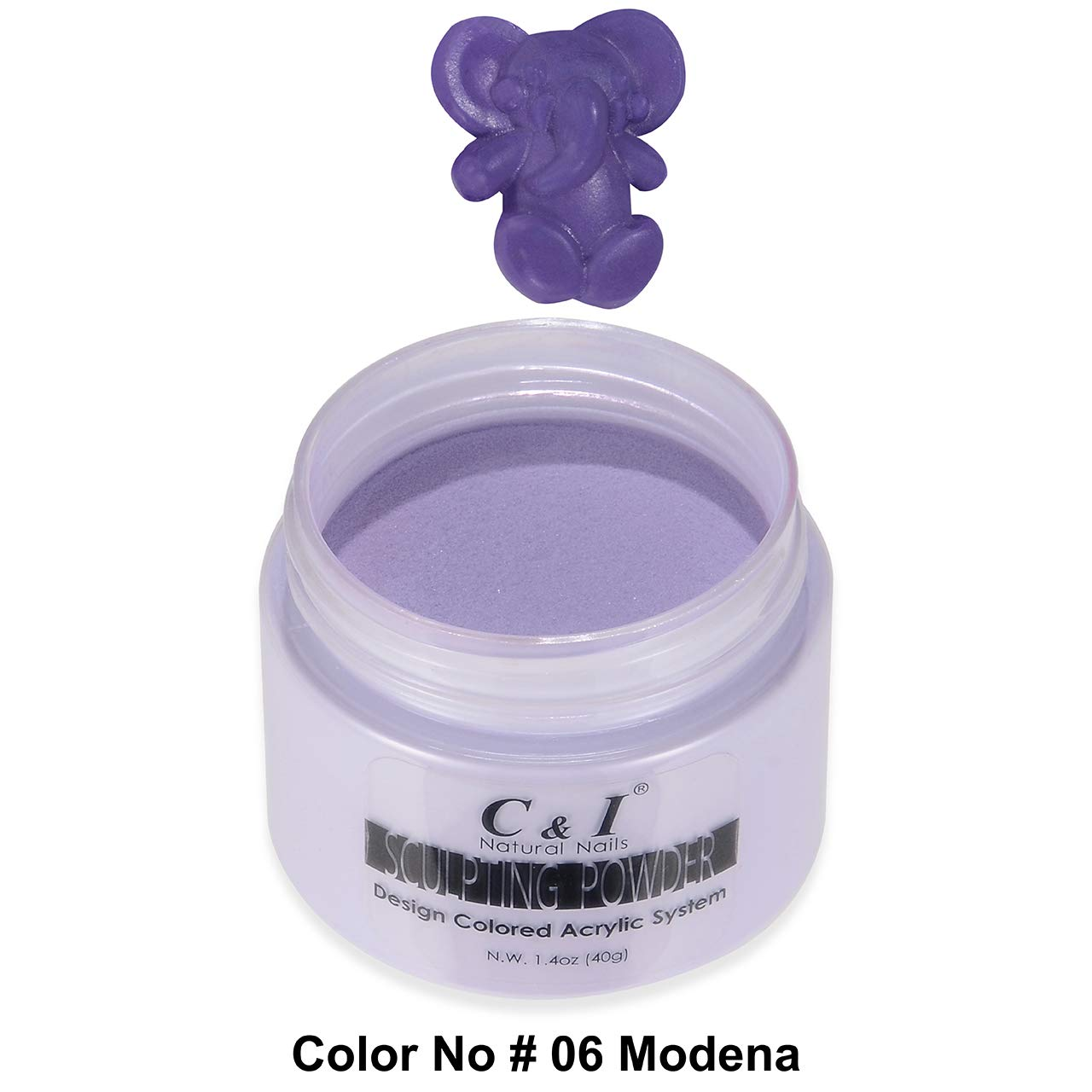 C&I Acrylic Powder, 6 Modena, 3 D Nail Flower, Sculpting Nail Powder, 1.4 oz, 40 g